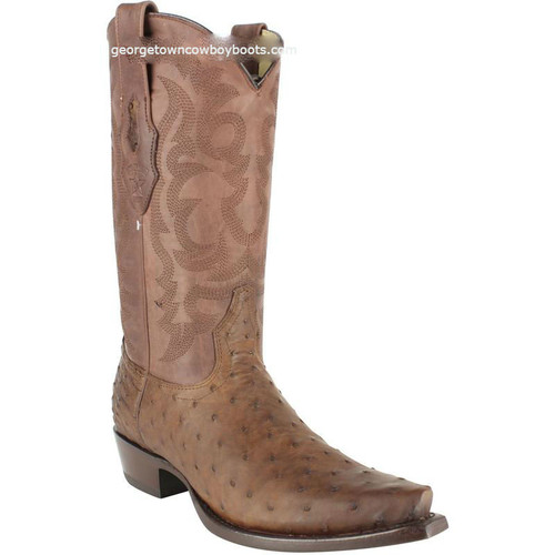 Men's Los Altos Full Quill Ostrich Snip Toe Boots Handcrafted 94G0307