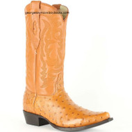 Men's Los Altos Full Quill Ostrich Snip Toe Boots Handcrafted 940351