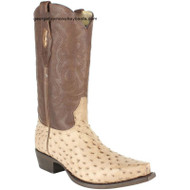 Men's Los Altos Full Quill Ostrich Snip Toe Boots Handcrafted 940372