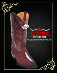 Los Altos Boots Burgundy Stingray Single Stone J-Toe 991206