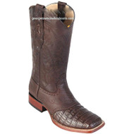 Men's Los Altos Caiman Belly Square Toe Boots With Saddle Handcrafted 8218207