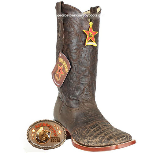 Men's Los Altos Caiman Belly Square Toe Boots With Saddle Handcrafted 8218235