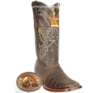 Men's Los Altos Caiman Belly Square Toe Boots With Saddle Handcrafted 821G8207