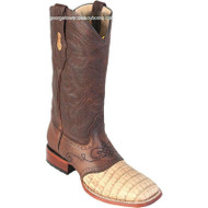 Men's Los Altos Caiman Belly Square Toe Boots With Saddle Handcrafted 821G8251