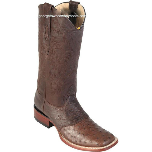 Men's Los Altos Ostrich Square Toe Boots W Saddle Vamp Handmade 8210307