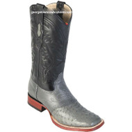 Men's Los Altos Ostrich Square Toe Boots W Saddle Vamp Handmade 8210309