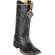 Men's King Exotic Caiman Crepe Sole Square Toe Boots With Saddle 8238205