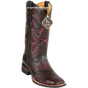Men's King Exotic Caiman Crepe Sole Square Toe Boots With Saddle 8238218