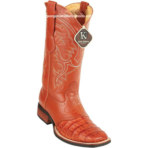 Men's King Exotic Caiman Crepe Sole Square Toe Boots With Saddle 8238203