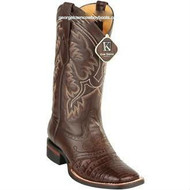 Men's King Exotic Caiman Crepe Sole Square Toe Boots With Saddle 8238207