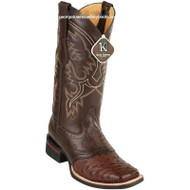 Men's King Exotic Square Toe Ostrich Boots Rubber Sole & Saddle 8230307