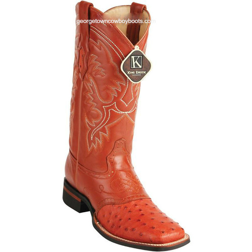 Men's King Exotic Square Toe Ostrich Boots Rubber Sole & Saddle 8230303