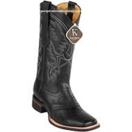 Men's King Exotic Ostrich Leg Boots With Rubber Sole & Saddle Square Toe 8230505