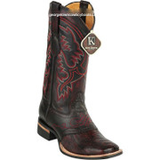 Men's King Exotic Ostrich Leg Boots With Rubber Sole & Saddle Square Toe 8230518