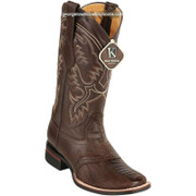 Men's King Exotic Ostrich Leg Boots With Rubber Sole & Saddle Square Toe 8230507