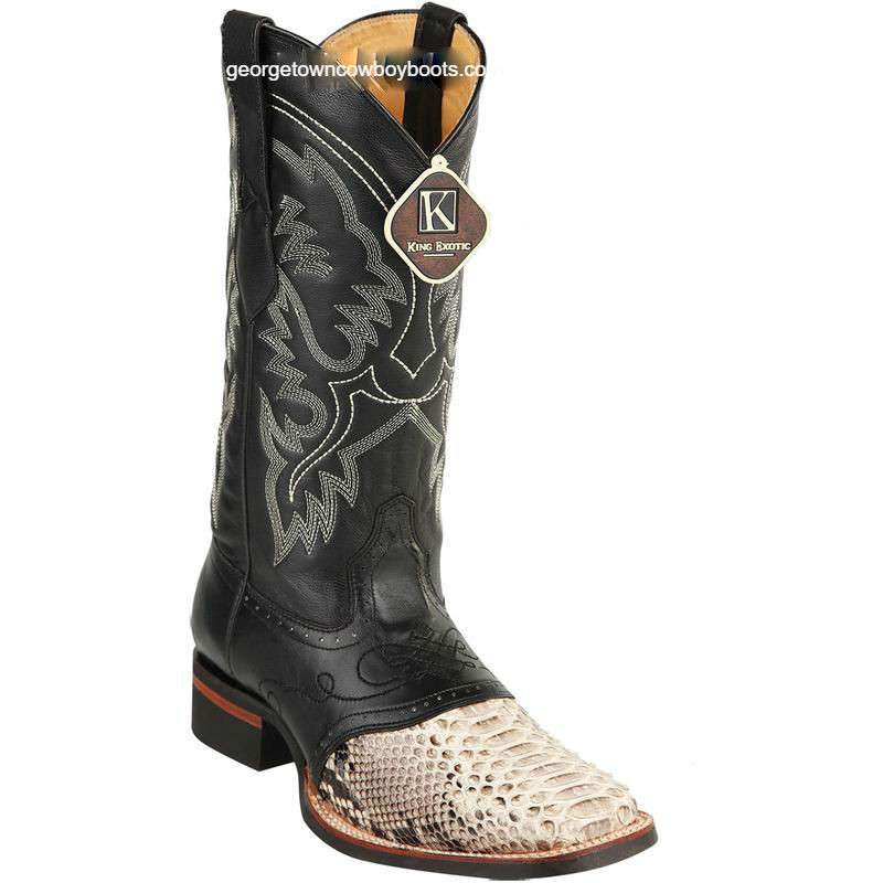 d8c80dd3dd3 Men's King Exotic Python Boots Rubber Sole & Saddle Vamp Square Toe 8235749