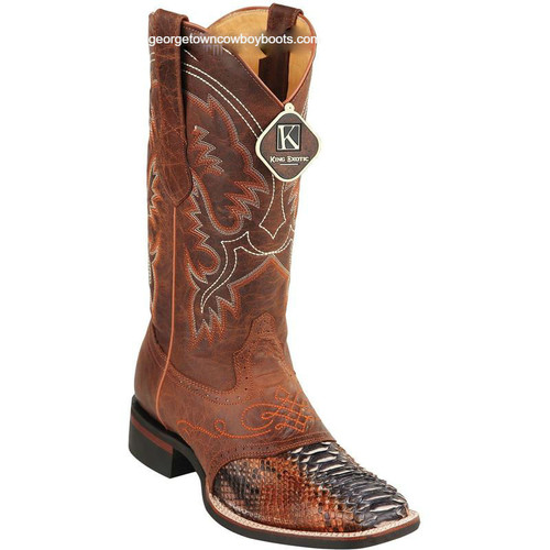Men's King Exotic Python Boots Rubber Sole & Saddle Vamp Square Toe 8235788