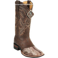 Men's King Exotic Python Boots Rubber Sole & Saddle Vamp Square Toe 8235785