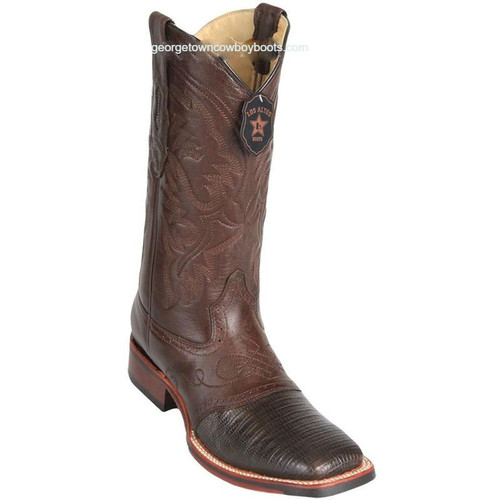 Men's Los Altos Square Toe Lizard Boots With Saddle Handmade 8230707
