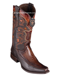 Men's Los Altos Ostrich Leg Boots With Deer European Square Toe Handcrafted 76F0516