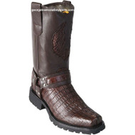 Men's Los Altos Genuine Caiman Tail Motorcycle Boots Handmade 55T0107