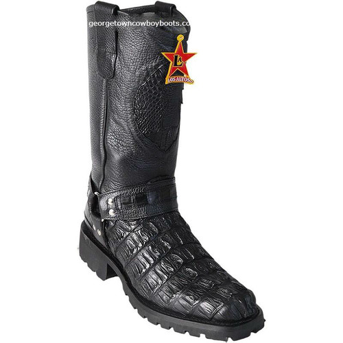Men's Los Altos Genuine Caiman Tail Motorcycle Boots Handmade 55T0105