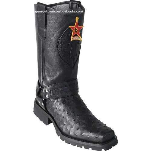 Men's Los Altos Full Quill Ostrich Motorcycle Boots Handmade 55T0305