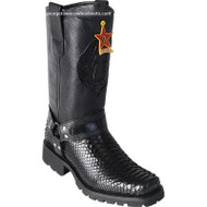 Men's Los Altos Python Biker Boots With Industrial Sole Handmade 55T5705