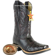 Mens Los Altos Square Toe Caiman Belly Boots W Saddle 8168218