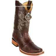 Men's King Exotic Ostrich Leg Square Toe Boots With Saddle Handmade