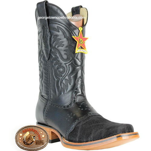 Mens Los Altos Elephant Skin Square Toe Boots With Saddle Vamp 8177005