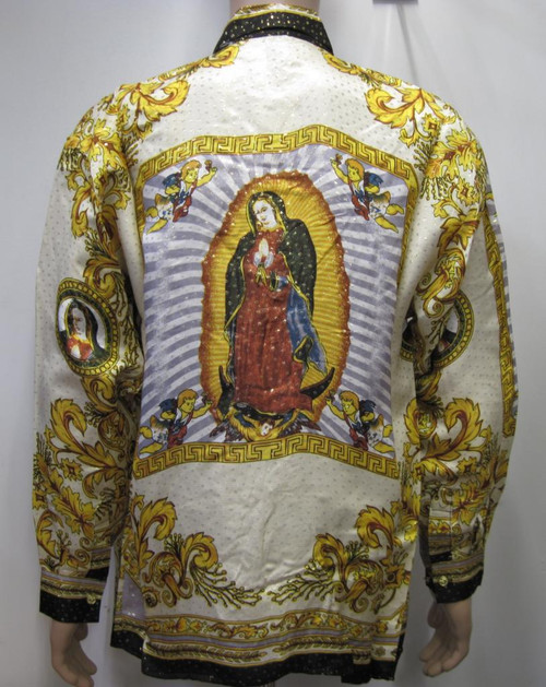 Our Lady Of Guadalupe White/Gold Silk Shirt