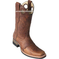 Men's Los Altos Square Toe Boots W Saddle Rubber Sole Handmade 811C9951