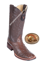 Men's Los Altos Full Quill Ostrich Boots Square Toe Handcrafted 8260307