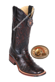 Men's Los Altos Full Quill Ostrich Boots Square Toe Handcrafted 8260318