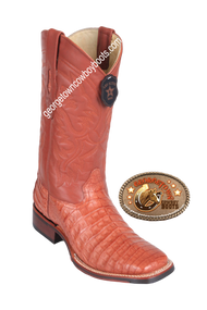 Men's Los Altos Caiman Belly Square Toe Boots Handcrafted 8268203