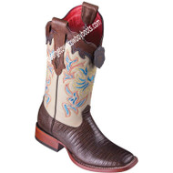 Women's Los Altos Teju Lizard Boots Wide Square Toe Handcrafted 3220707