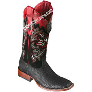 Women's Los Altos Python Boots Wide Square Toe Handcrafted 322N5705