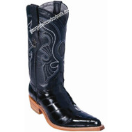Women's Los Altos Black Eel Skin Boots 3x Toe Profile Handmade 350805