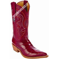 Women's Los Altos Red Eel Skin Boots 3x Toe Profile Handmade 350812
