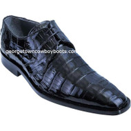 Men's Los Altos Black Caiman Belly Plain Toe Blucher Shoes ZV088205