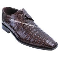 Men's Los Altos Brown Caiman Belly Plain Toe Derby Shoes zv088207