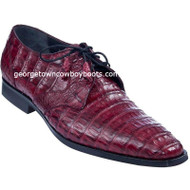 Men's Los Altos Burgundy Caiman Belly Plain Toe Derby Shoes zv088206