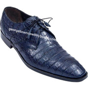 Men's Los Altos Navy Blue Caiman Belly Plain Toe Derby Shoes zv088210