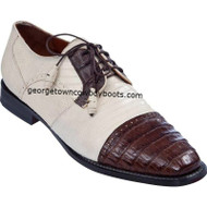 Men's Los Altos Caiman Belly W Teju Lizard Cap Toe Derby Shoes zv093767