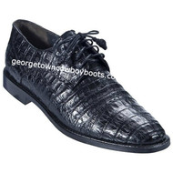 Men's Los Altos Black Caiman Belly Plain Toe Blucher Shoes ZV098205