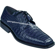 Men's Los Altos Navy Blue Caiman Bicycle Toe Derby Shoes ZV038210