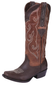 Premier Women's Western Leather Embroidered Knee High Boots Square Toe