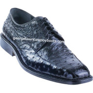 Men's Los Altos Black Ostrich Bicycle Toe Derby Shoes ZV030305