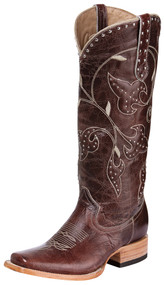 Premier Women's Western Leather Brown Leaf Knee High Boots Square Toe